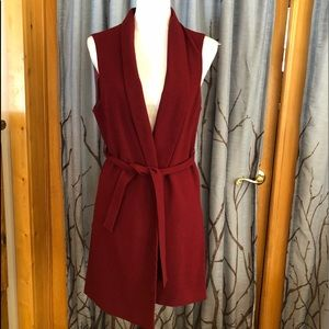 ASOS 12 burgundy red long belted vest, split sides